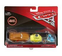 CARS 3 Dwupak Lightning McQueen as Chester Whipplefilter, Luigi & Guido with Cloth Die-Cast Vehicle